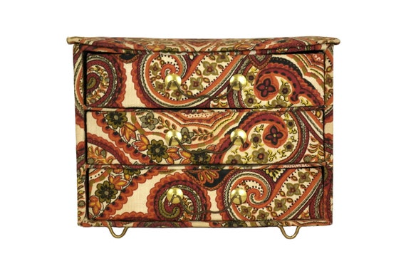 Vintage Jewelry Chest with Drawers, Paisley Fabric Covered Sewing Organizer