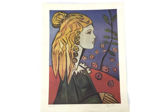 Vintage Brigitte Bardot Portrait Lithograph by David Stein in the Style of Picasso, Original French Art Print, Cinema Memorabilia