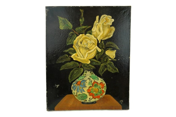 Vintage French Rose Flower Painting, Original Floral Wall Art