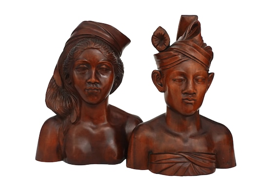 Indonesian Carved Wood Head Busts, Tribal Man and Woman Portrait Art Statues
