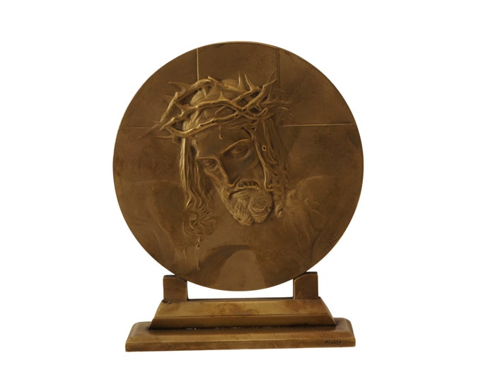 Antique Bronze Jesus Christ Portrait, Medallion Plaque by Henry Miault, French Catholic and Christian Gifts