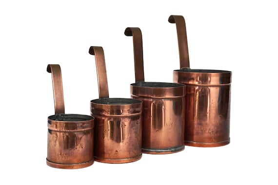 French Copper Measuring Cups Set, Vintage Rustic Kitchen Decor