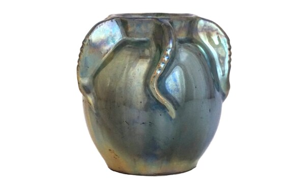 Mid Century Pottery Lusterware Vase by Rambervillers, French Ceramic with Iridescent Luster Glaze