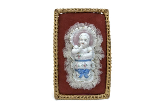 Antique Porcelain Baby doll in Wicker Crib. German Hand Painted New Born Figurine. Baptism Gift Souvenir. Baby Shower and Nursery Decor.