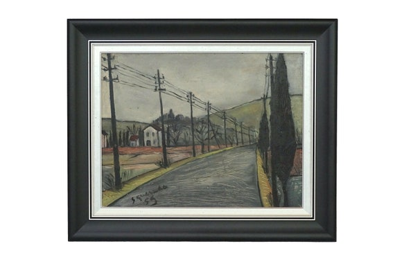 French Country Road Painting with Telephone Poles in Farm Landscape, Original Signed Mid Century Art