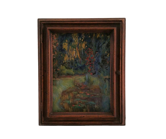 French Wooden Key Holder Cabinet with Claude Monet Giverny Pond Art Print, Entryway and Kitchen Hanging Hooks