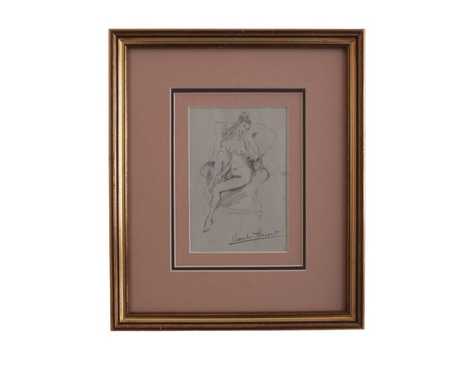 Vintage French Nude Woman Portrait Drawing, Vintage Erotic Naked Lady Art