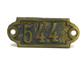 French Hotel Door Number 544. Antique Bronze Number Tag. Numbered Bronze Plaque.