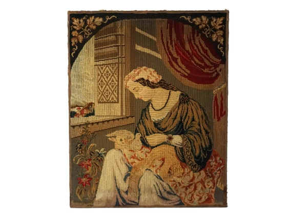 Antique Berlin Wool Work Tapestry Portrait of Lady with Dove, 19th Century Needlework and Bead Embroidery