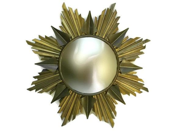 1950s French Mid Century Brass Sunburst Mirror with Convex Glass.