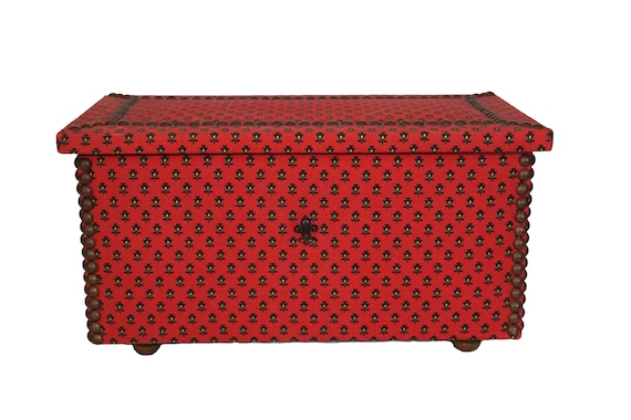 French Wooden Chest Keepsake Box, Large Fabric Covered Jewelry Box