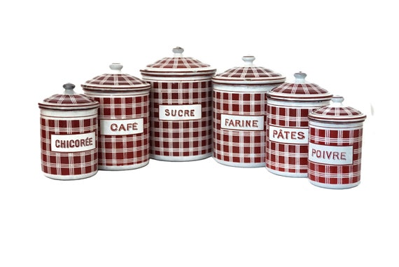 French Enamel Kitchen Canister Set by BB Freres,  Flour, Sugar and Coffee Storage Jars