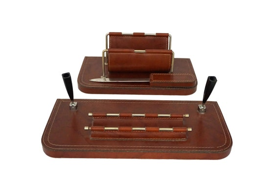 MCM Brass and Leather Desk Organizer Set with Letter Holder, Paper Knife and Pen Holder