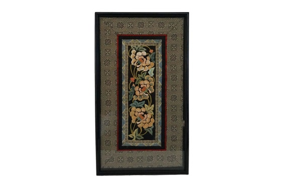 Antique Chinese Silk Embroidery Panel Wall Hanging, Framed Asian Flower Textile Art