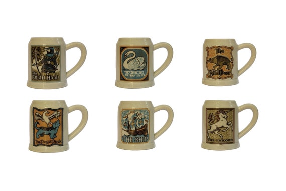 Porcelain Beer Stein Mugs with Pub Signs, Set of 6 French Pillivuyt Tankards