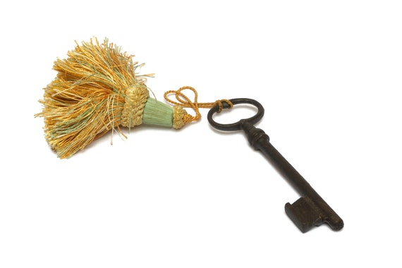 Antique Skeleton Key and Tassel, Rustic French  Home Decor