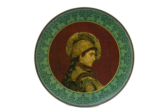 Antique Man Portrait Litho Art Tin Plate, Victorian Charger with Renaissance Decor