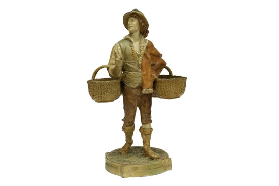 Antique Man with Baskets Statue, French Character Vase Flower Holder, Stamped LH Metallo Ceramique