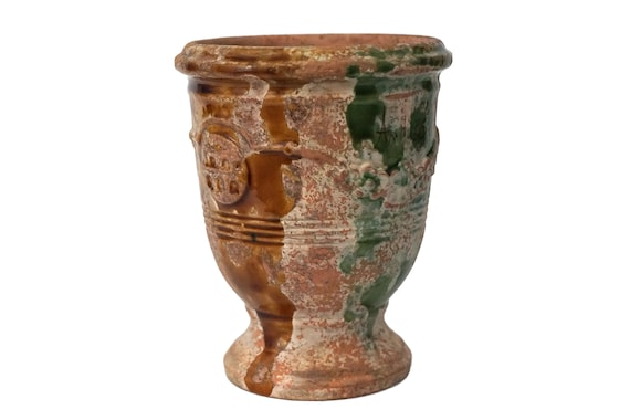 French Anduze Pottery Herb Pot, Small Glazed Terracotta Urn Vase