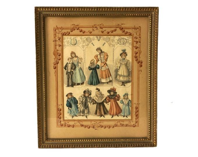 Antique Victorian Children Fashion Print, 19th Century French Nursery Art