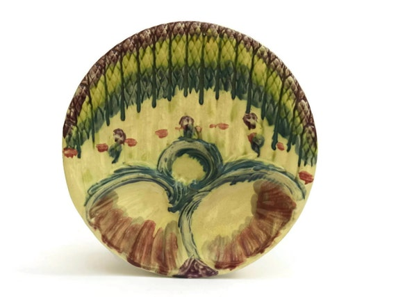 Antique Majolica Asparagus Plate. Wall Plate. French Kitchen Decor.