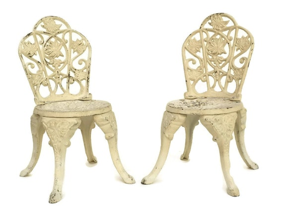 Vintage French Dolls Chairs, Pair of Miniature Cast Iron Garden Furniture