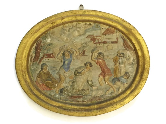 Antique French Chalkware Religious Wall Hanging, The Stoning Of Saint Stephen, Christian Art plaque