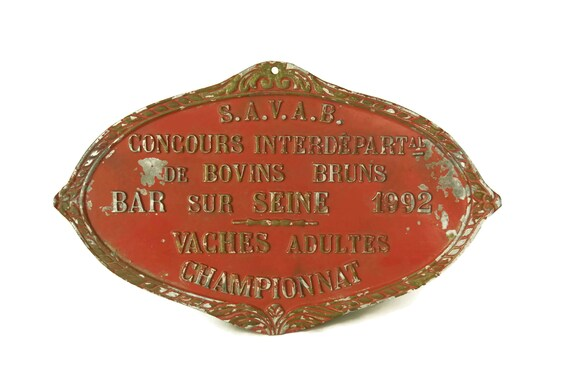 Vintage French Agricultural Award Medal, 1992 Birthday Gift, Shabby French Red and Gold Wall Sign Plaque, Country Decor