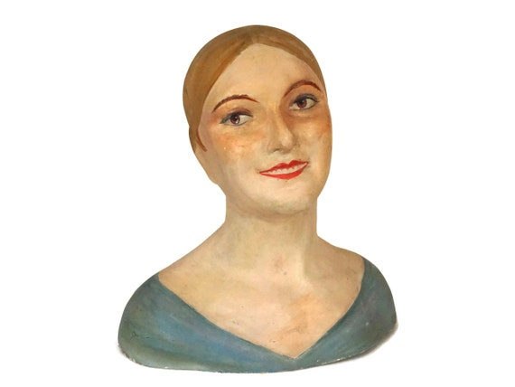 Antique French Hat Stand Model, Art Deco Woman Head Bust Mannequin, Millenary Display