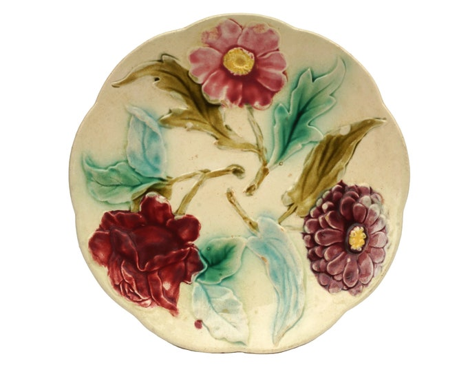 French Antique Majolica Flower Plate with Rose, Dahlia and Daisy, Ceramic Leaf Wall Decor
