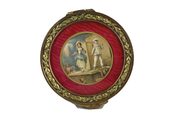 French Jewelry Box with Miniature Portrait of Pierrot and Columbine Art Print