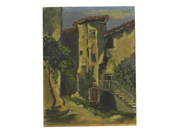 French Provence Village Oil Painting, Vintage Wall Art of Thueyts Village