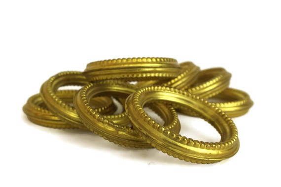 Antique Brass Curtain Rings, Set of 8 Gilt Drapery Hangers Hardware, French Chateau Decor