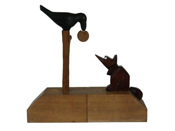 Art Deco Carved Wood Bookends, The Fox and the Crow Aesop Fable, Antique French Folk Art Animal Figurines