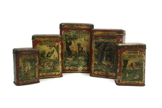 Antique French Kitchen Canisters with La Fontaine Fables Art. Set of 5 Litho Tin Boxes with Animal Illustrations. Kitchen Decor and Gifts.