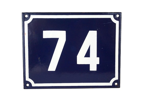 French Enamel House Number 74, Front Door Address Sign, Garden Gate Plaque