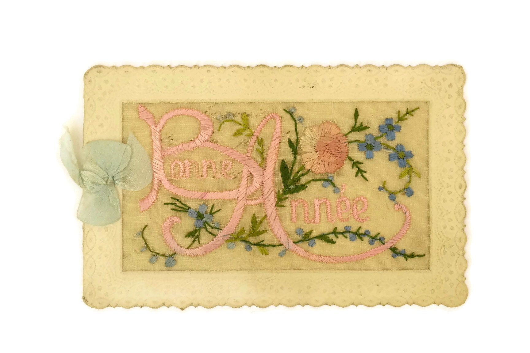 Antique French Embroidered Flower Greeting Card Bonne Annee Card