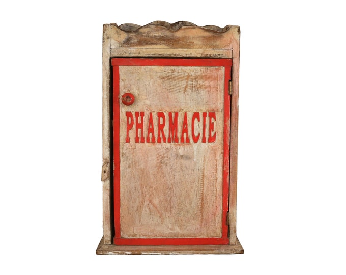 French Bathroom Medicine Cabinet, Vintage Wooden Wall Hanging Pharmacy Cupboard