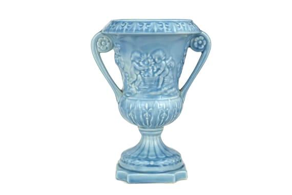 Classical Urn Vase with Cherub figures. Vintage Blue Glazed planter with Handles.
