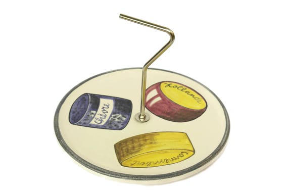 Vintage Elchinger French Cheese Platter. Mid Century Ceramic Snack Tray. Serving Plate with Cheese Illustrations.