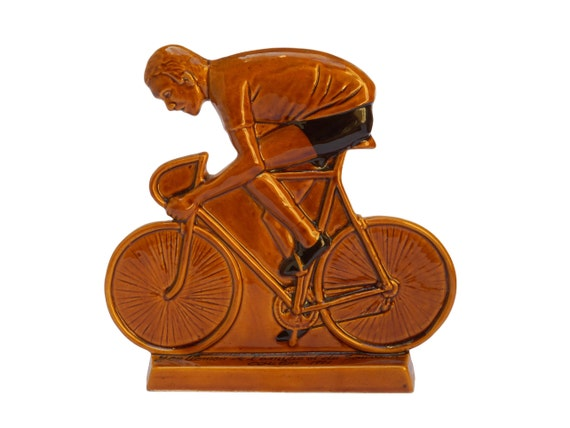 French Cycling Trophy, Ceramic Bicycle Wall Art, Sports Lover Gift