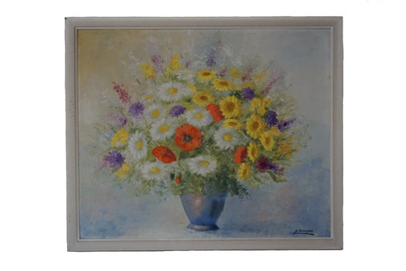 Spring Flowers in Vase Painting, Vintage French Floral Bouquet Still Life Art