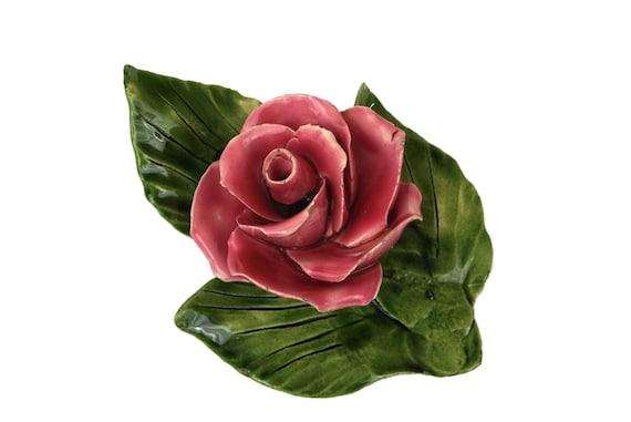 French Majolica Pink Rose Flower, Vintage Summer Blossom Table Decor