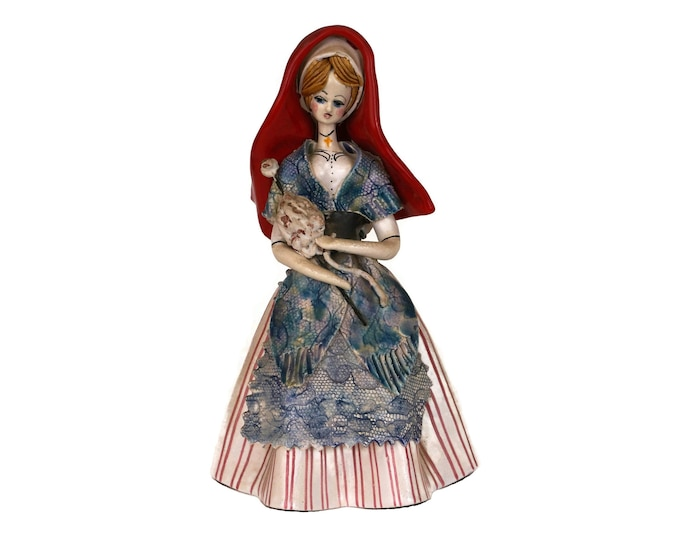 French Ceramic Folk Art Doll in Traditional Pyrenees Costume, France Souvenir Figurine