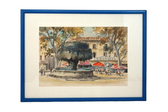 French Cafe and Fountain Painting, Framed and Signed Provence Art