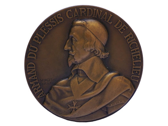 Cardinal Richelieu Portrait Bronze Medal, Antique French Navy and Battleship Collectible