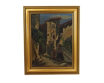 French Provence Village Oil Painting, Vintage Original Wall Signed Art