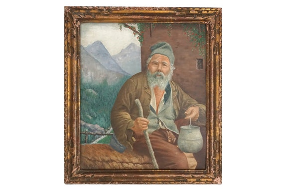 Old Man Portrait Painting, Antique French Shepherd and Mountain Landscape Art