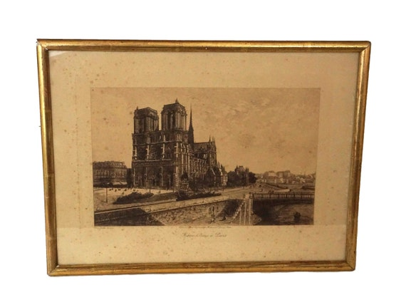 Antique French Notre Dame Etching by Lucien Gautier, Paris Cathedral Scene Art Print Souvenir