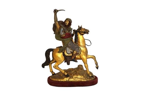 Antique Orientalist Statue of Arabian Warrior on Horseback, Horse and Rider Figurine